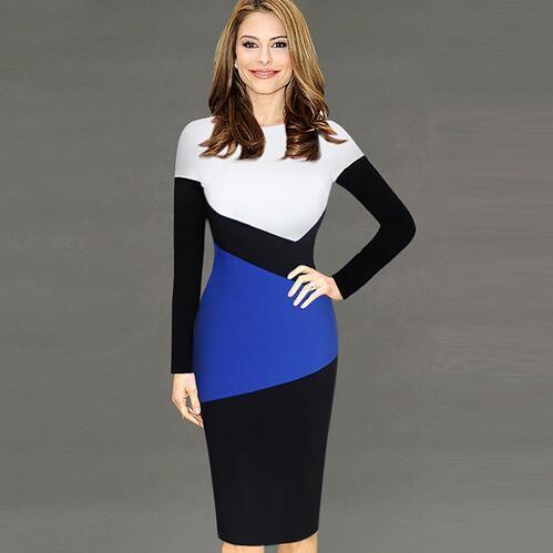 Lcw Femmes New Mode Contraste élégant colorblock Patchwork manches longues Porter au travail de bureau d'affaires gaine Aménagée Robe moulante