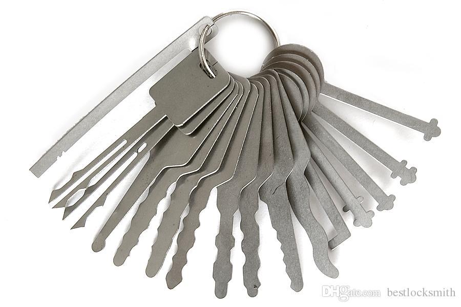 16pcs / Set Block Picking Keys Auto Blocksmith Tools Strumenti Blocco Picks Jigglers for Double Sided Block Picking Picks set per Aprizziere per auto
