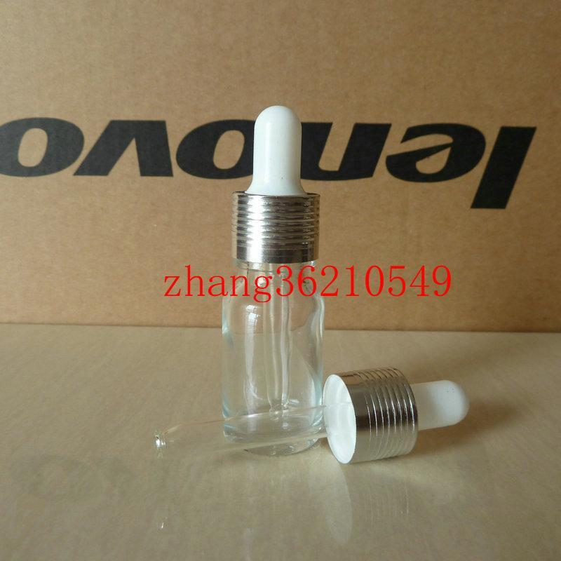 투명하고 투명한 유리 에센셜 오일 병 10ml 알루미늄 광택 드로우 캡. 오일 바이알, 에센셜 오일 용기