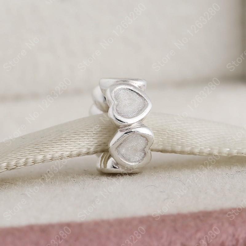 2015 winter nieuwe 925 sterling zilveren hart emaille spacer Europese charme fijne sieraden DIY accessoires voor vrouwen armbanden