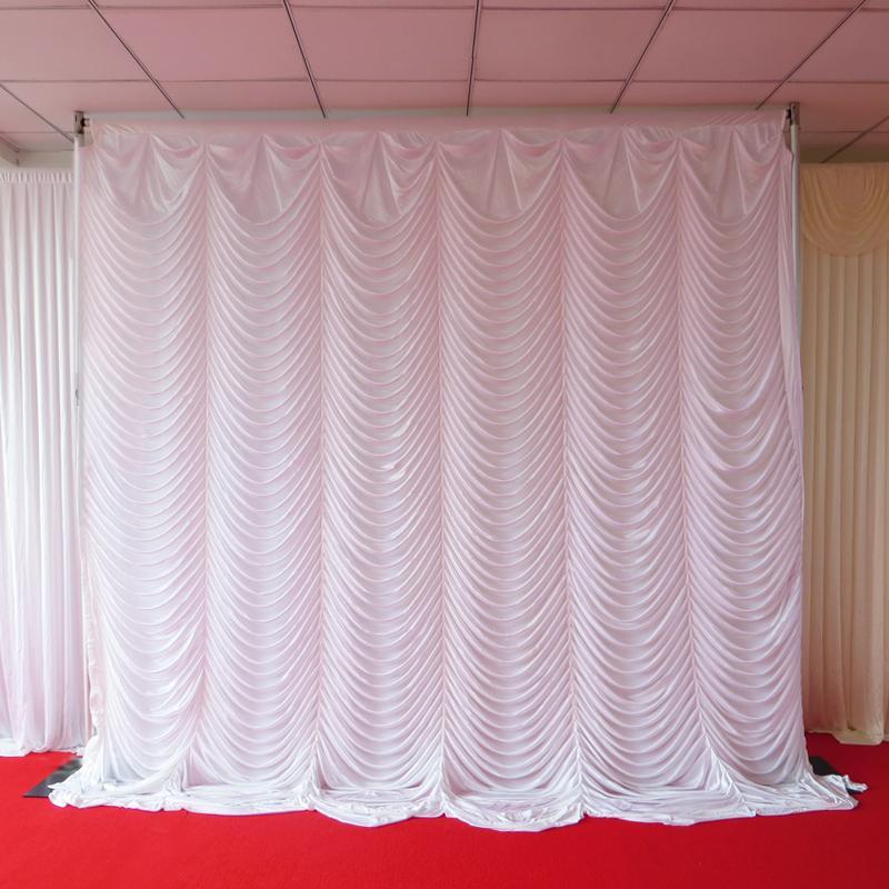 Blanc 3m * 3m glace en tricot plissé Swag Toile de fond rideau 1PCS MOQ avec livraison gratuite pour le mariage, Banquet, Hôtel Utilisation