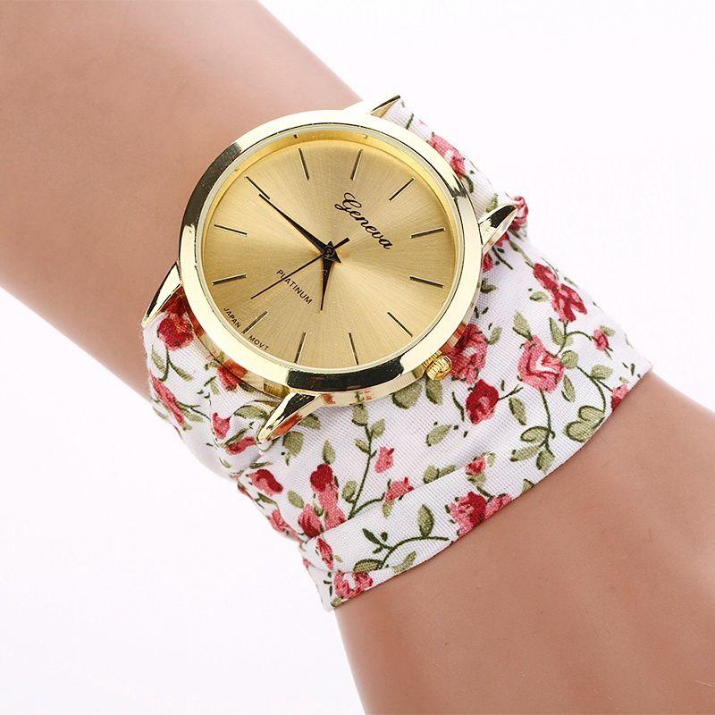 2015 New Fashion geneva brand watches floral chiffon sweet girls ...