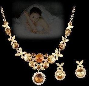 3 color diamond wedding bride set earings (2.5*1.4cm) women's necklace (36+5cm) (400-cn)