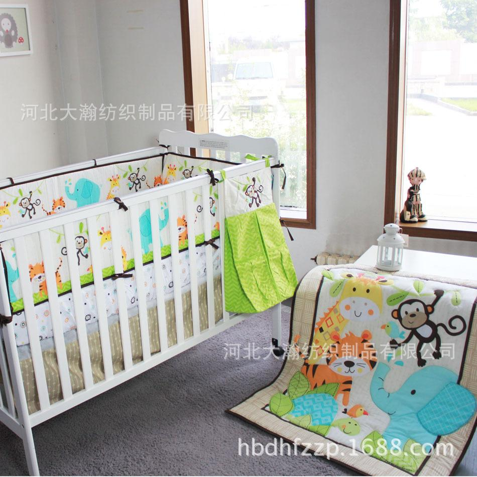 Baby bed online shopping - Cotton Baby Bedding Set 6 Pieces Embroidery Elephant Tiger Monkey Bird Baby Boy Kit Crib Cot Bedding Sets