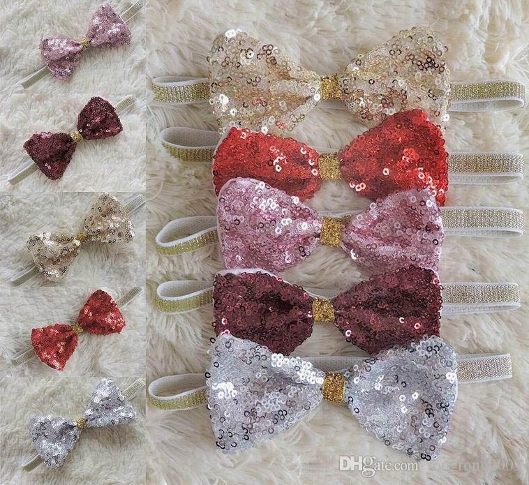 New Girl Cerchietti Paillettes Fiocco Accessori di moda dei capelli dei bambini fotografia puntelli regali per neonati 1545