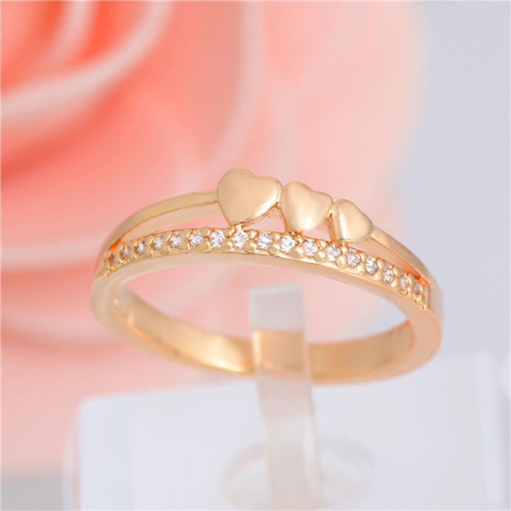 Fine Jewelry Romantic Ring For Women Gold Crystal Ring Heart Unique ...