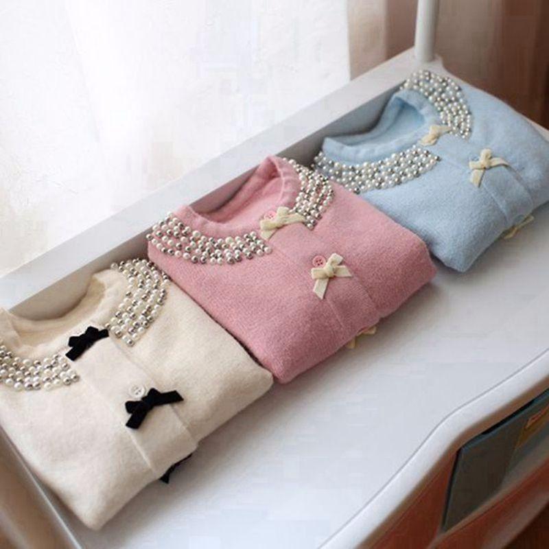 Einzelhandel Neue Heiße Kinder Kleidung Kinder Pullover Strickpullover Mädchen Pullover Perlen Hals 2016 Herbst Winter Kinder Strickjacke