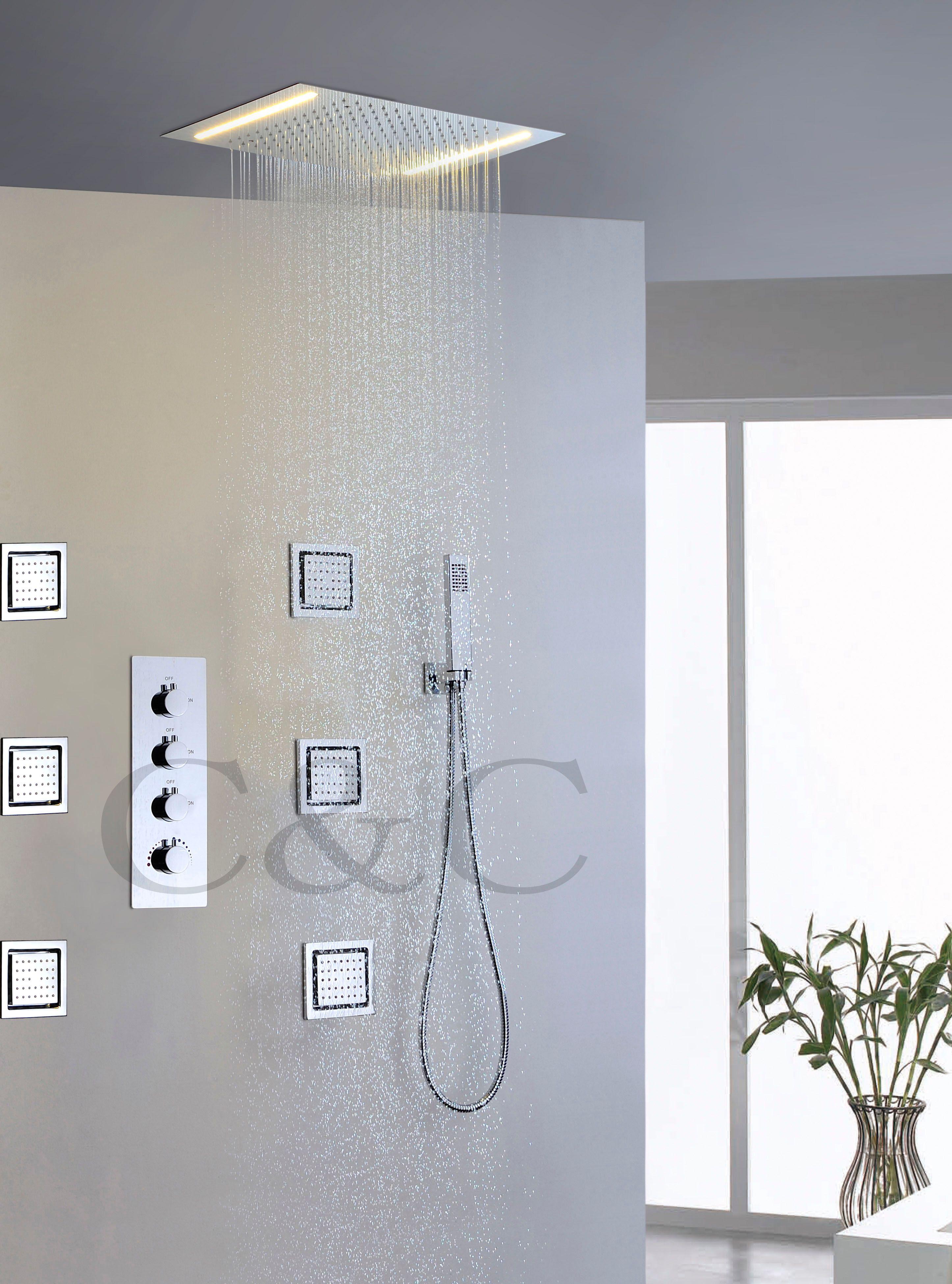 큰 물 흐름 강우 욕실 샤워 꼭지 세트 교류 더블 행 LED 옐로우 램프 강우량 샤워 헤드 008-50X36E-6MF