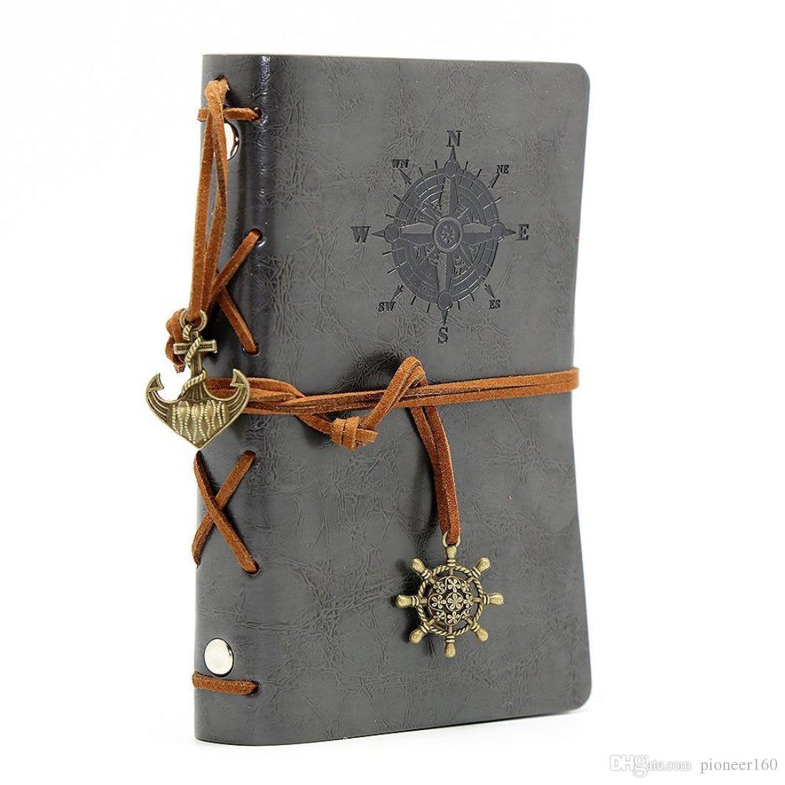 Leder Notizbuch Notizbuch Jahrgang nautische Spirale Blank 6 Ringbuch String täglich Notizblock Reisen in ungefüttertem Papier grau zu schreiben