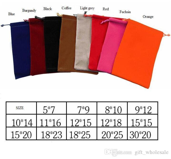 8 Colors 14 Sizes Velvet Pouches Rings Necklace Earrings Stud Bracelets Bangle Jewelry Gift Packaging Bags 1000pcs can print logo DIY Guest