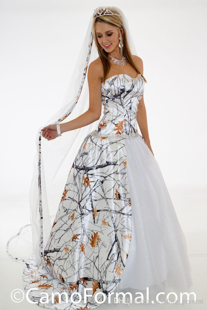 Fashion White Snow Camo Wedding Dresses with Glitter Net Crystal Beaded Bridal Dresses Realtree Wedding Gowns with Detachable Train