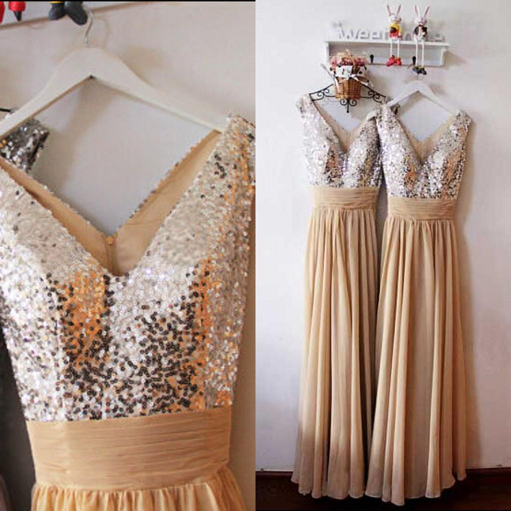 Hot Sale In Stock Bridesmaid Dress Shinny A Line V Neck Sleeveless Sequins Ruched Waist Chiffon Long Formal Cheap Prom Gowns