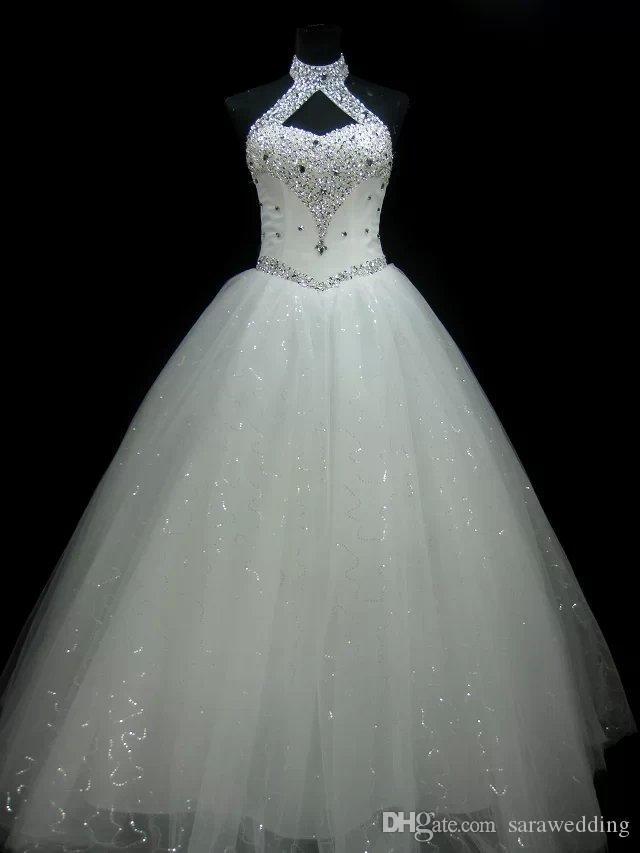 New Halter Neck frisada de cristal vestido de baile vestidos de casamento 2019 Lace Up branco vestido de noiva vestidos