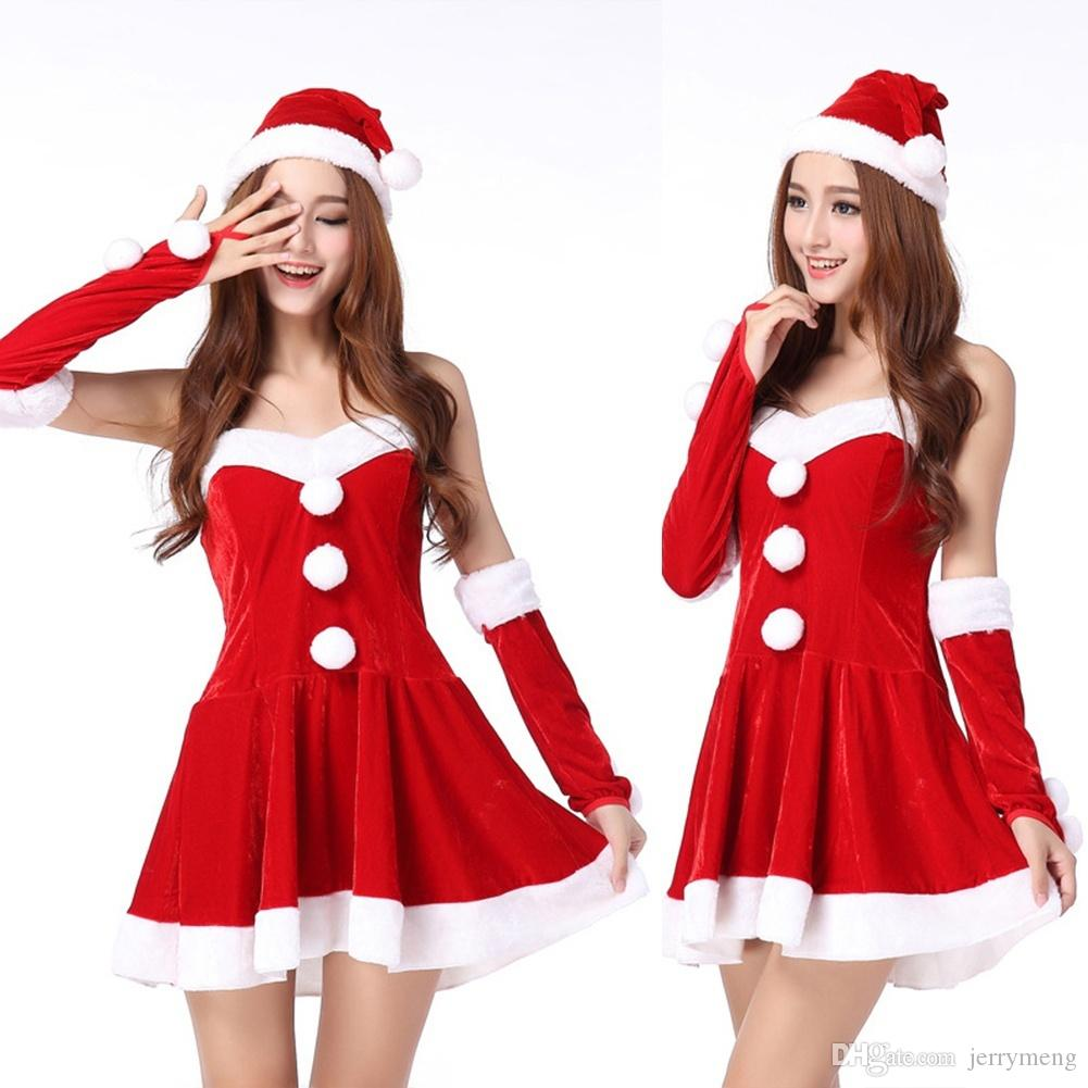 Women Christmas Costume One Piece Dress Hat Santa Claus Cosplay (Size: One Size)
