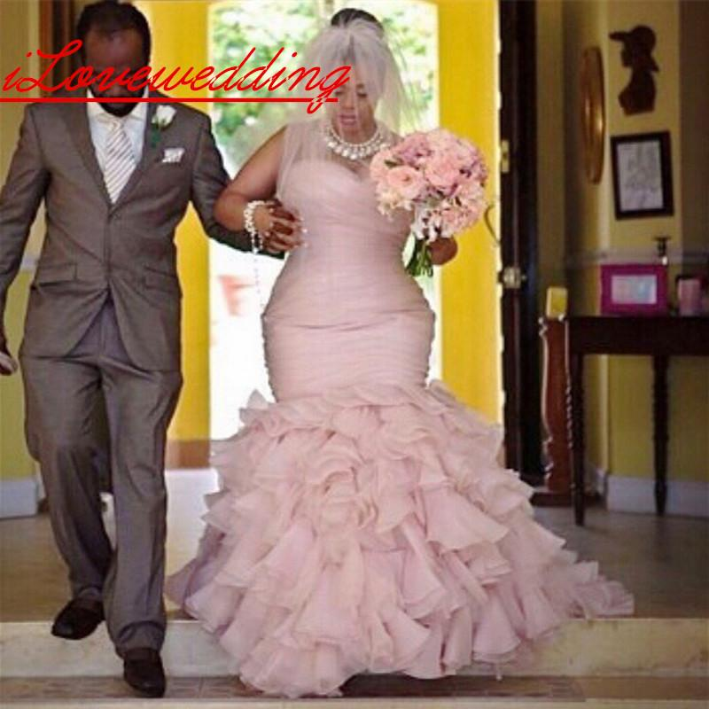 Plus Size African Wedding Dresses With Court Train Tiered Mermaid Organza  Pink Bridal Gowns Lace Up Corset Arabic Wedding Dresses LA Cheap Wedding ...