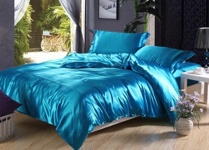7pcs Gölü mavi ipek yatak seti saten çarşaflar Cal kral kraliçe tam ikiz nevresim çarşaf bir torba yorgan yatak keten yatak takıldı