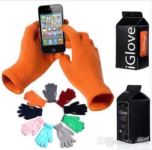 IGlove Luvas Tela luvas do toque capacitivos Com pacote de varejo Unisex Inverno para Iphone 6 6S Além disso 5S entregas toque ipad
