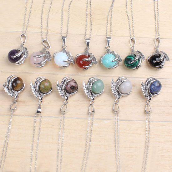 20pcs all'ingrosso classico placcato argento catena misti pietra drago artiglio tondo borda la collana dei monili della collana