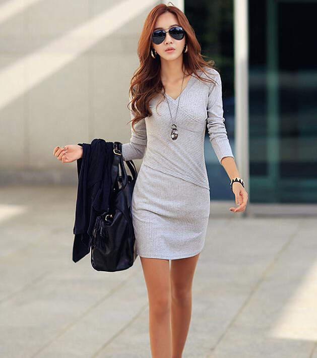 FG1509 Hot! ! Fashion Bodycon Sweater Dress V Neck Wrap Front Dress Color Autumn Long Sleeve Dress Bottoming Vestidos Curtos Black/Grey