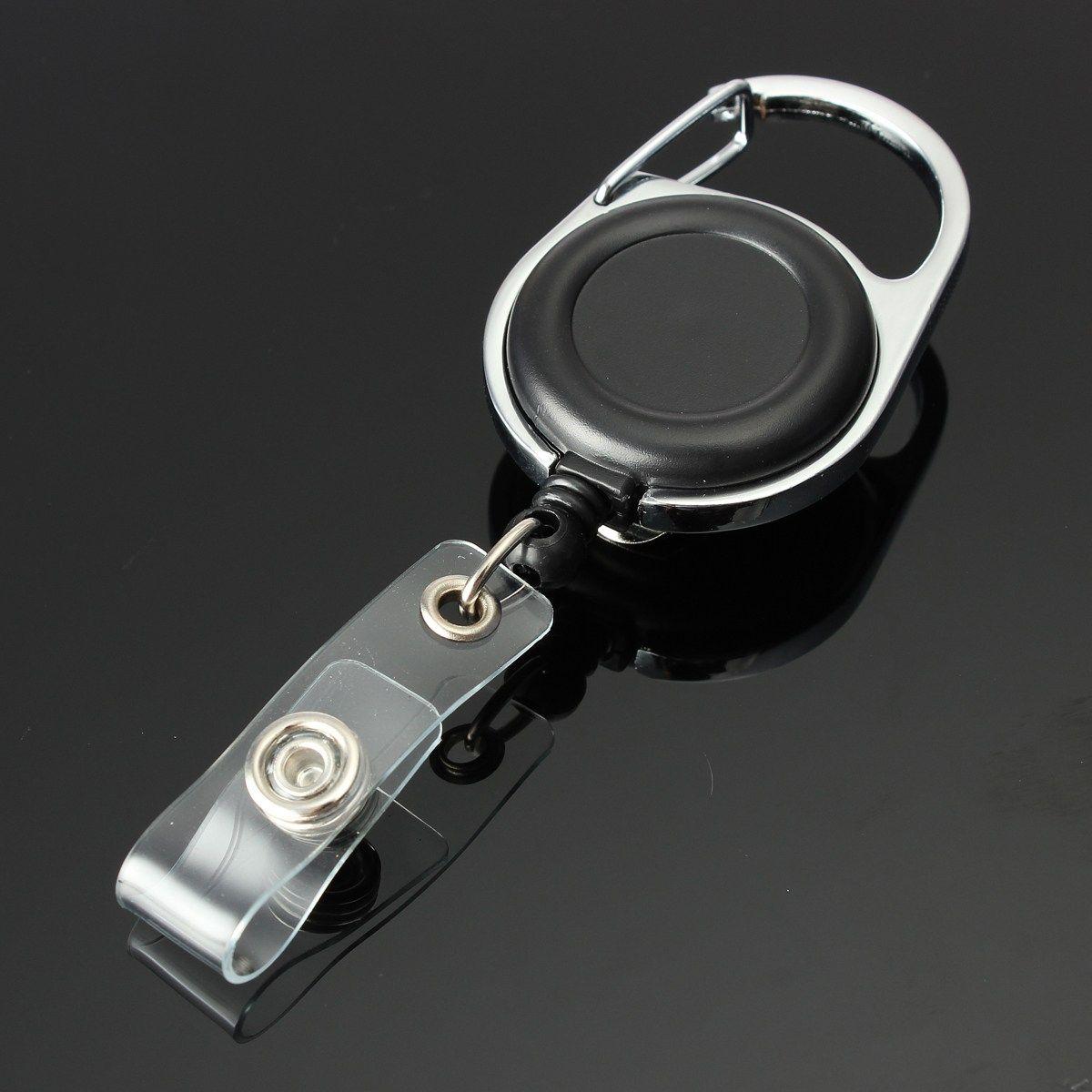 1x Retractable Reel ID Badge Lanyard Name Tag Key Card Holder Belt Clip