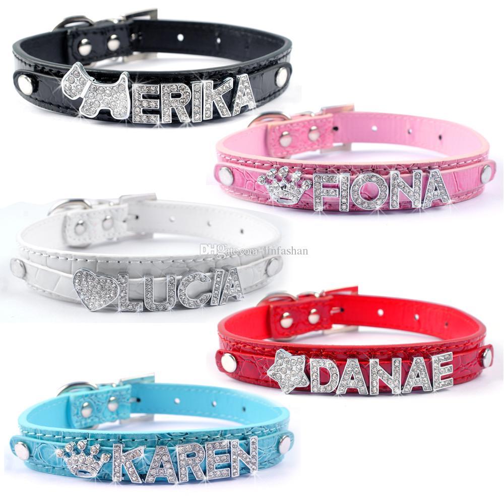 20pcs completas colores personalizados collares de perro de DIY para mascotas Customed barato Gatro piel collares de perro M L S