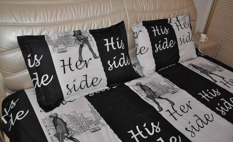 Copriletto Her Side His Side.Black And White Bedding Set Fun Korean Quilt Duvet Cover Bed Sheets