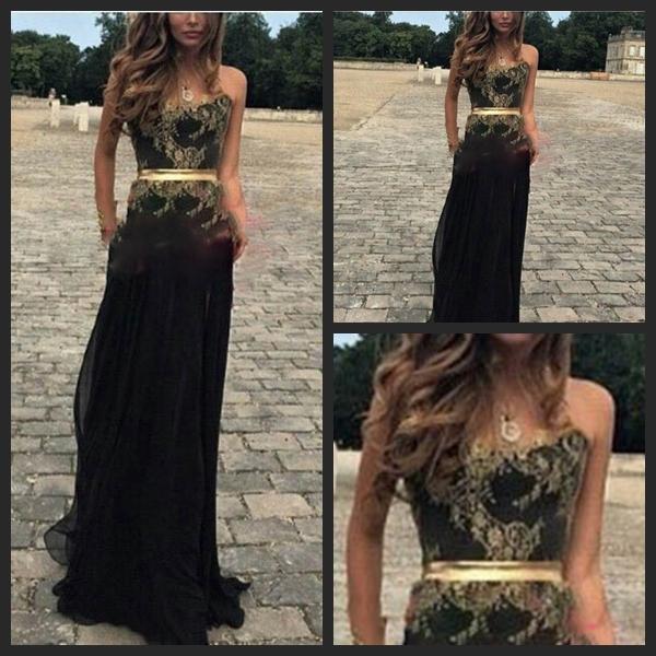 Vestido Formatura Zarif Gelinlik Modelleri Seksi Straplez Altın Dantel Annelik Siyah Şifon Uzun Akşam Parti Elbise