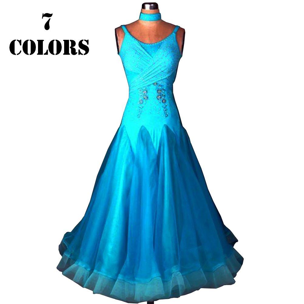 Ballroom Waltz Dresses Sale Ballroom Competition Dress Party Dance Costumes Tango 7 Colors D0424 Rhinestones Big Sheer Hem