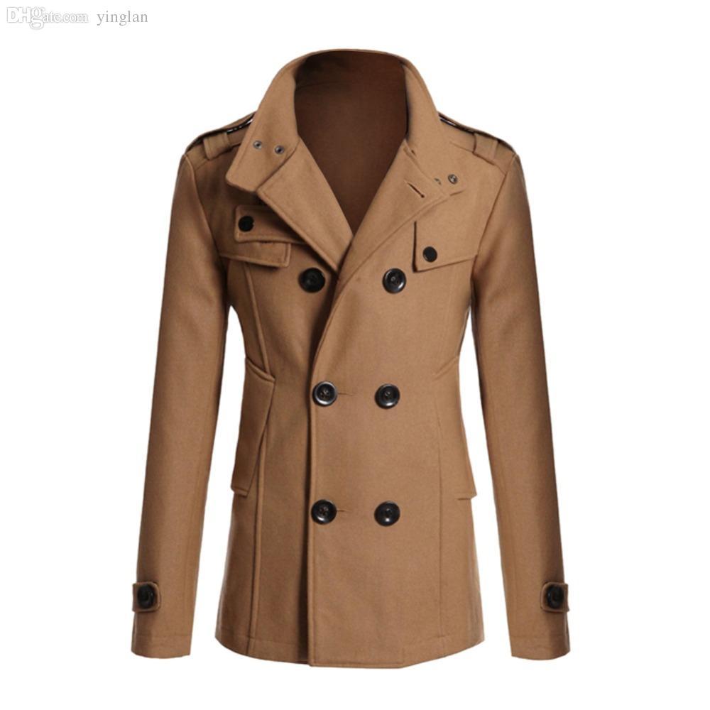 Fall-2015 Moda Hombres Invierno Overcoat British Style Doble-Breasted Fittedwear Outerwear Abrigo Trench M L XL XXL Abrigos Gratis