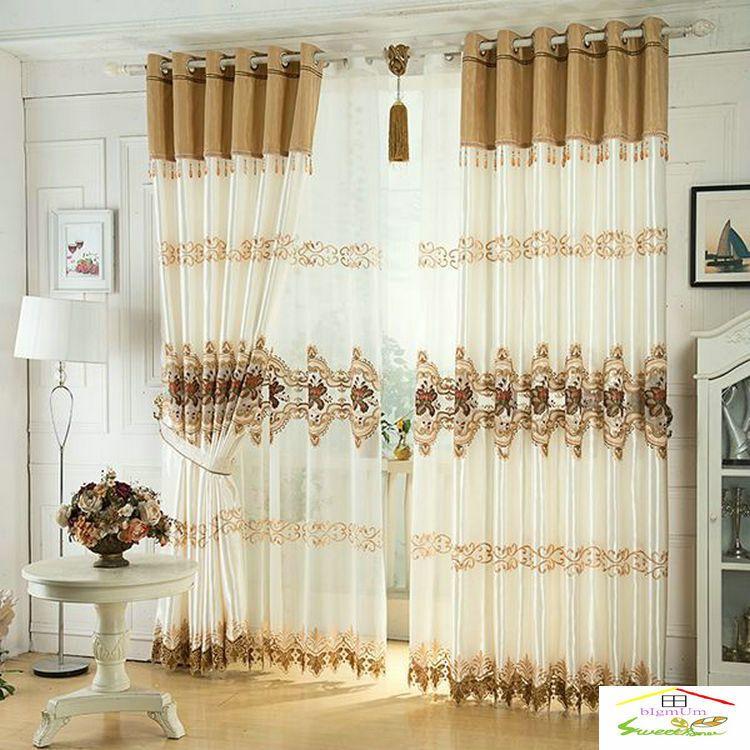 Luxo Janela cortina para sala de estar / Quartos / Hotel White / Brown / Golden / Purple Home Instalações / Tratamento FreeShipping