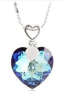 colgante de corazón azul diamante (2.7 * 1.8cm) collar de dama (36 + 5cm extra) (400-cn)
