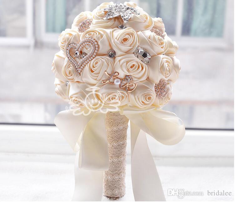 수제 장미 새로운 신부 부케 웨딩 액세서리 브로치 크리스탈 진주 결혼식 꽃다발 들고 꽃