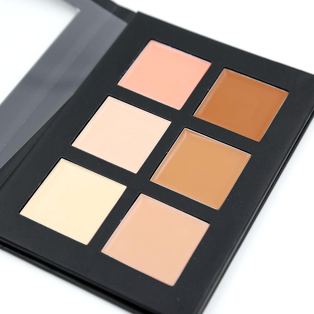 Paleta de contorno Profesional 6 colores Corrector Camuflaje Maquillaje Palatte 1 PCS Corrector Face Primer Net 30g Todos los tipos de piel