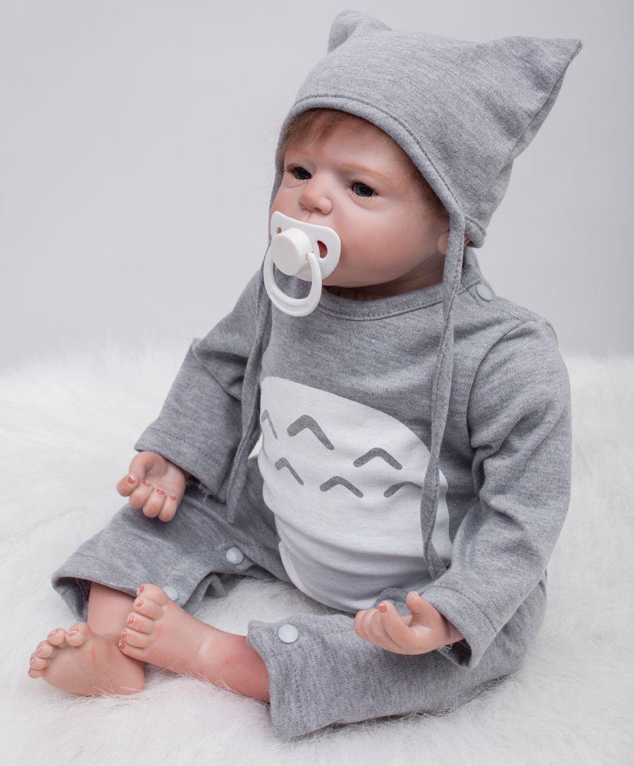 55cm Handmade Lifelike Baby Silicone Vinyl Reborn Newborn Boy Girl Doll Clothes