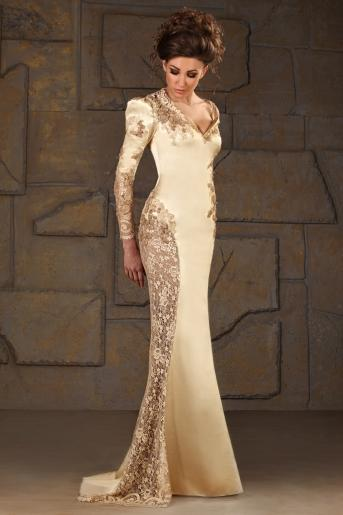 Vintage scollo a V sirena in raso maniche lunghe applique paillettes abiti da sera in oro formale modesta madre del vestito da sposa 2014
