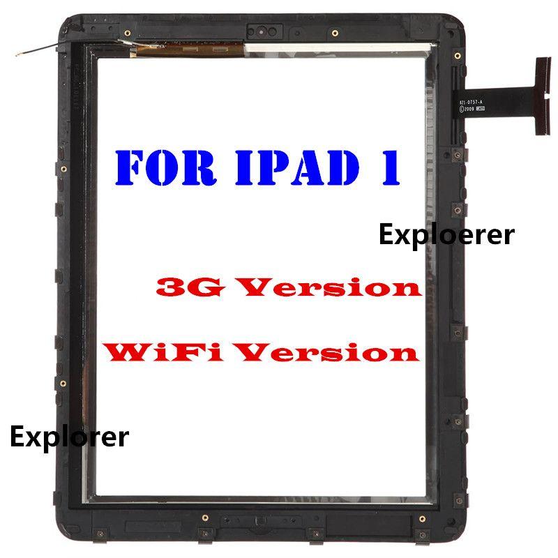 montaj çerçevesi çıkartması Siyah Ücretsiz gönderim iPad 1 3G WiFi VERSİYONU% 100 Orjinal Dokunmatik Cam Ekran Digitizer için geçti sınama