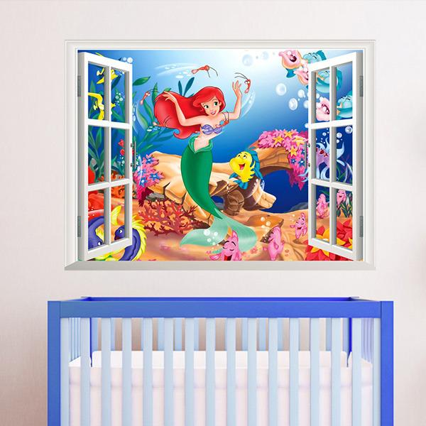 3d Living Bed Room Decoration Colorful Cartoon Mermaid Sea World Vinyl Wall  Sticker Decal 3d Window View Children Room Art Decor 1424 Walls Stickers  White ...