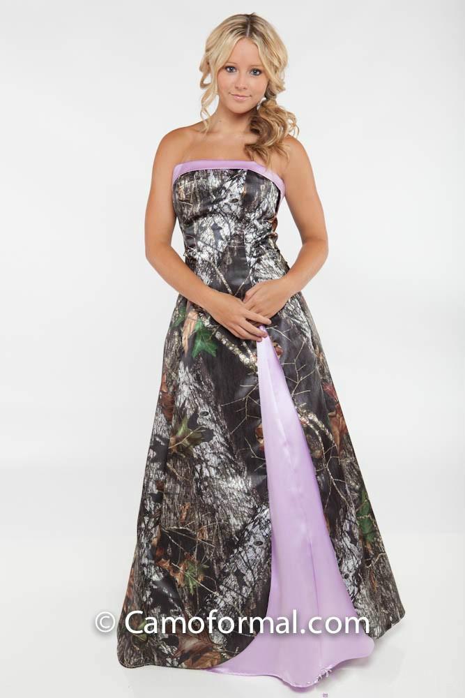 Camo Wedding Dresses 2015 Strapless Split Side Light Purple Floor Length Bridal Dresses 2015 Camouflage Wedding Gowns New Arrival