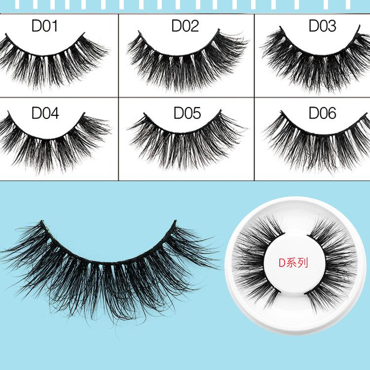 Handmade 3D Mink Hair False Eyelashes Rouond Box Long Thick Cross Natural Makeup Faux Eye Lashes Extension
