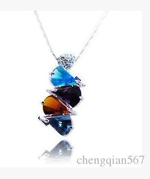 gota de diamante colorido puple sobreposta pingente da senhora necklae (xysppfh)