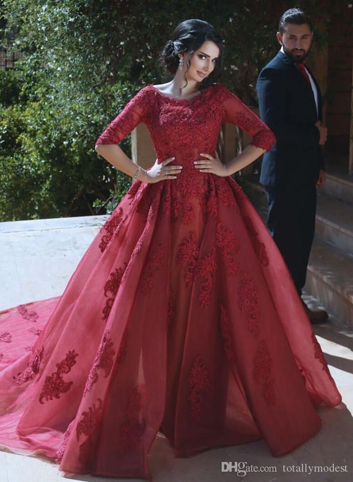 Burgundy Gothic Wedding Dresses With Detachable Train Sheer Sleeves Lace Appliques Buttons Back Arabic Bridal Gowns Custom Made Couture