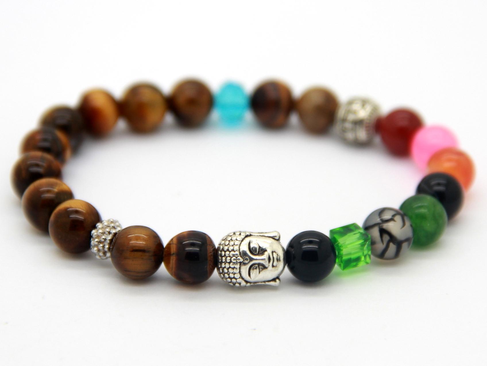 Whosale Ny Design Beaded Mäns Silver Buddha Armband med Naturlig Tiger Eye Stone Pärlor Yoga Armband