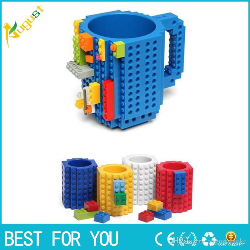 Haute Qualité DIY Brique Puzzle Tasse À Café Tasse À Bâtir Build-on Building Tea Tea 301-400ml Cadeau De Noël pour Enfants