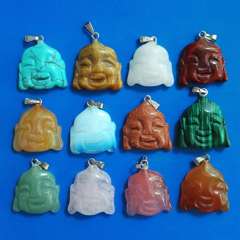Wholesale carved natural stone mixed buddha pendants for jewelry making 12pcs/lot Free shipping