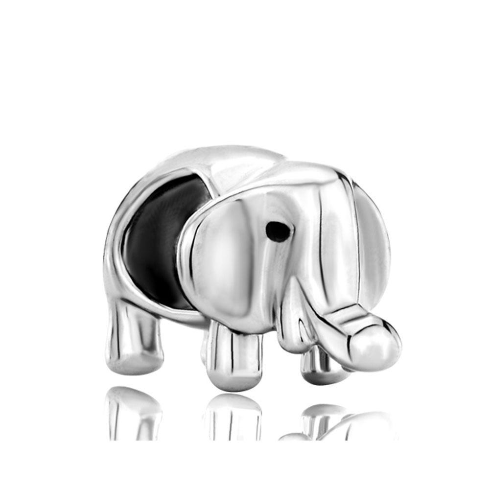 Personalized jewelry cute elephant long nose animal European bead metal charm ladies bracelet with big hole Pandora Chamilia Compatible