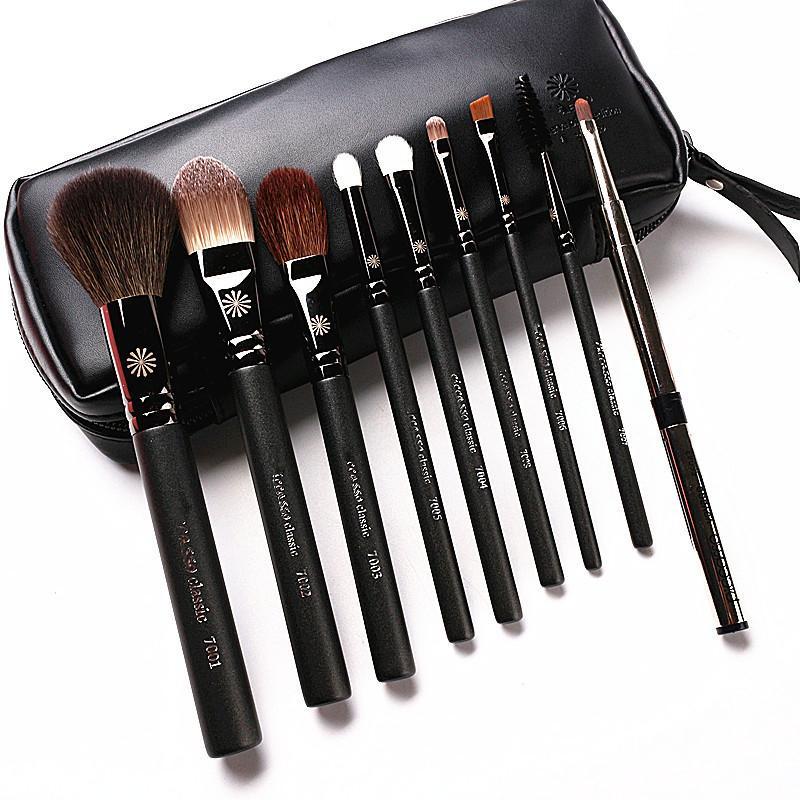 Style coréen haut de gamme 9pcs / Set pinceaux de maquillage professionnel poignée nacrée cheveux de chèvre maquillage Kit de brosse avec étui en cuir cadeau