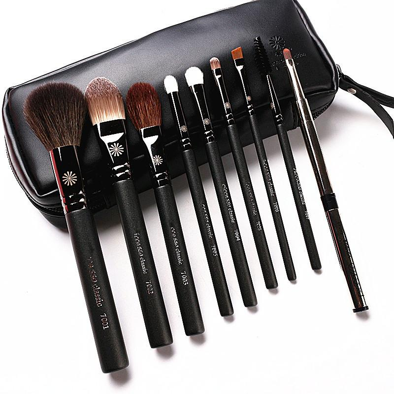Высокого класса корейский стиль 9шт/комплект макияж кисти профессиональный перламутровой ручкой козьей шерсти макияж кисти комплект с кожаный чехол подарок