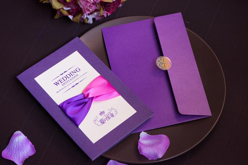 Purple weddding invitations high quality uique elegant wedding card purple weddding invitations high quality uique elegant wedding card customize envelope 2016 wedding invitation 2015 stopboris Images