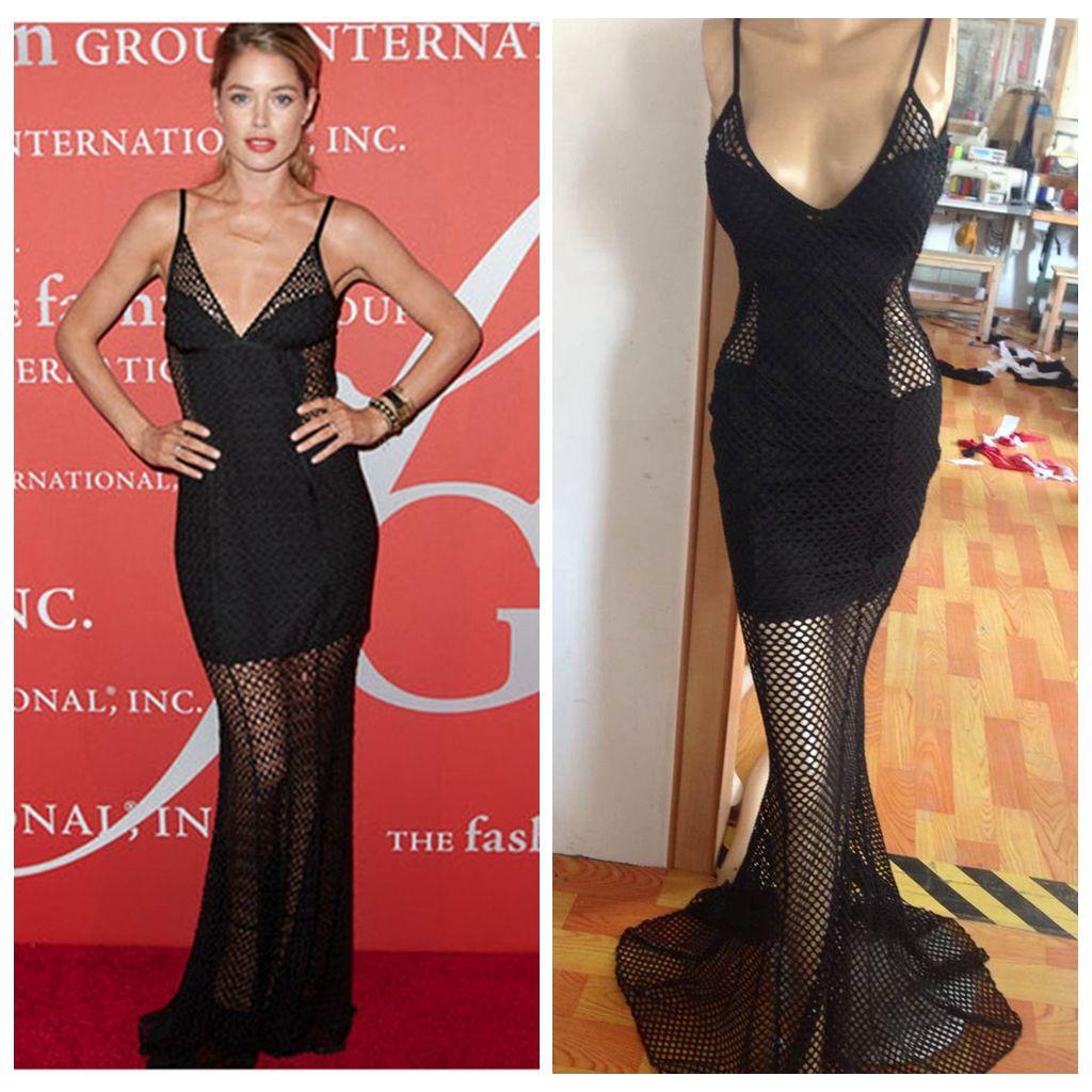 celebrity New Black Formal Bandage Mermaid Elegant Long Party Lace Dress Prom Gowns Women Mesh Deep V Spaghetti Sexy Club Bodycon Vestidos