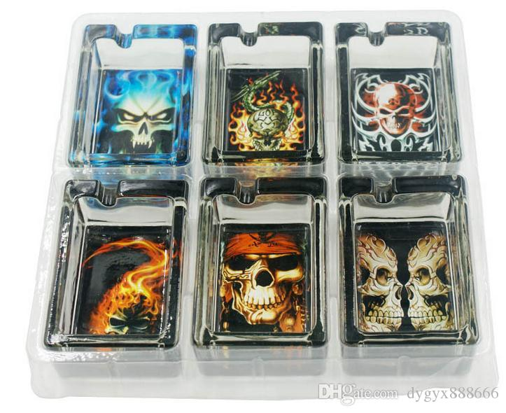 Wholesale free shipping-----2015 new Pattern rectangular sticker glass ashtray, a variety of patterns and styles to select (A, B, C, D, E, F